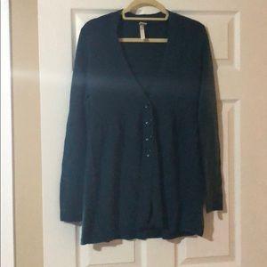 Aqua 100% Cashmere V-Neck Cardigan in Size L